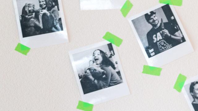 Polaroid pictures of people having fun